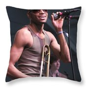 Musician Trombone Shorty Throw Pillow