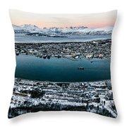 Tromso From The Mountains Throw Pillow