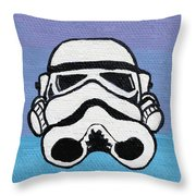 Trooper On Purple Throw Pillow by Jera Sky