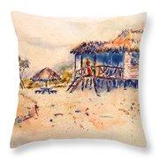 Tropical  Beach Hut Throw Pillow