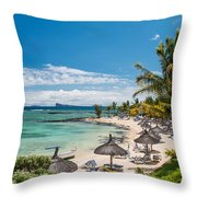 Tropical Beach II. Mauritius Throw Pillow