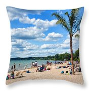 Tropical Beach In Port Dover Throw Pillow