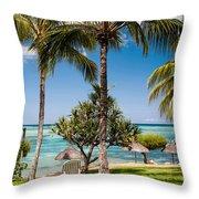 Tropical Beach. Mauritius Throw Pillow