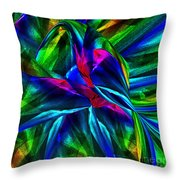 Tropical Bird Sits On A Tropical Tree Throw Pillow