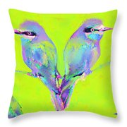 Tropical Birds Blue And Chartreuse Throw Pillow