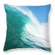 Tropical Blue Ocean Wave Throw Pillow