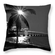 Tropical Bridge In Black And White Throw Pillow