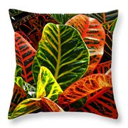 Tropical Croton Throw Pillow