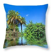 Tropical Exotic Jungle And Water Throw Pillow
