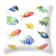 Tropical Fish Round Throw Pillow