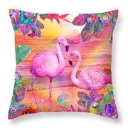 Tropical Flamingo Throw Pillow