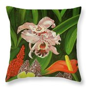 Tropical Foliage Throw Pillow