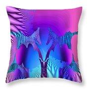 Tropical Fractal Throw Pillow