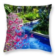 Tropical Garden Around Pool Throw Pillow