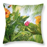 Tropical Garden Throw Pillow