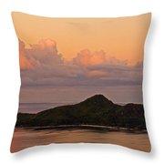 Tropical Island At Sunset Throw Pillow