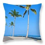 Tropical Island Beach And Sidewalk Art Prints Throw Pillow
