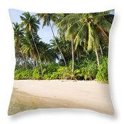 Tropical Island Beach Scenery Throw Pillow