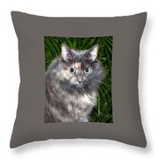 Tropical Kitty Throw Pillow