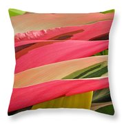 Tropical Leaves Abstract 3 Throw Pillow