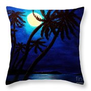Tropical Moon On The Islands Throw Pillow