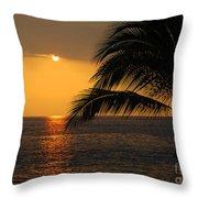 Tropical Ocean Sunset Throw Pillow