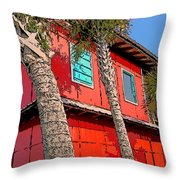 Tropical Orange House Palm Trees - Whoa Now Throw Pillow
