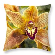Tropical Orchid Throw Pillow