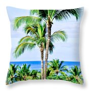 Tropical Palm Trees In Hawaii Throw Pillow
