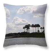 Tropical Palms And Clouds Throw Pillow