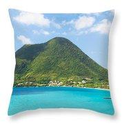 Tropical Panorama In The Caribbean Throw Pillow