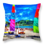 Tropical Sails Throw Pillow