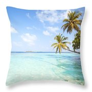 Tropical Sea In The Maldives - Indian Ocean Throw Pillow