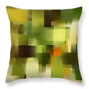 Tropical Shades - Green Abstract Art Throw Pillow
