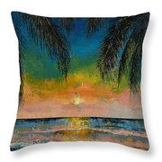 Tropical Sunset Throw Pillow by Michael Creese