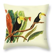 Tropical Toucans II Throw Pillow