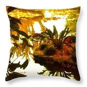 Tropical Water Garden Throw Pillow