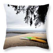 Tropical Watercraft Throw Pillow