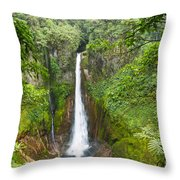 Tropical Waterfall In Volcanic Crater Throw Pillow