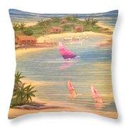 Tropical Windy Island Paradise Throw Pillow