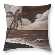 Tropics In Brown Throw Pillow