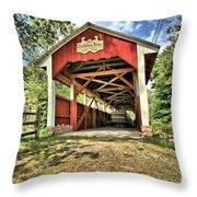 Trostle Town Covered Bridge Throw Pillow