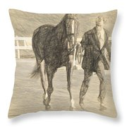 Trot Out Drawn Throw Pillow