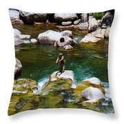 Trout Fly Fishing Throw Pillow