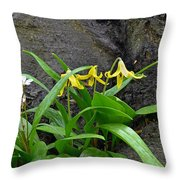 Trout Lily In The Woods Throw Pillow