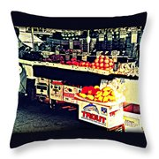 Vintage Outdoor Fruit And Vegetable Stand - Markets Of New York City Throw Pillow