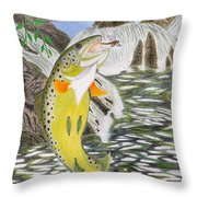 Trout Stream In May Throw Pillow by Gerald Strine