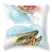 Trout Study Throw Pillow