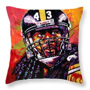 Troy Polamalu Throw Pillow by Maria Arango