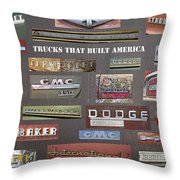 Trucks That Built America Throw Pillow